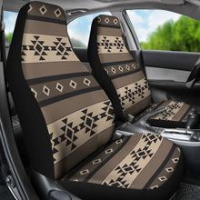 Load image into Gallery viewer, Neutral Brown, Black and Tan Tribal Boho Car Seat Covers Set of 2