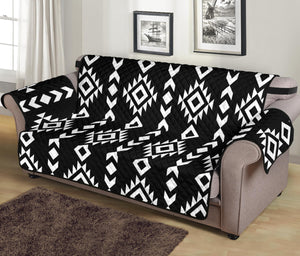 "Black and White Ethnic Tribal Pattern 70"" Sofa Protector Couch Slipcover"