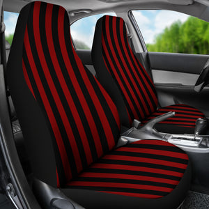 Red and Black Striped Car Seat Covers