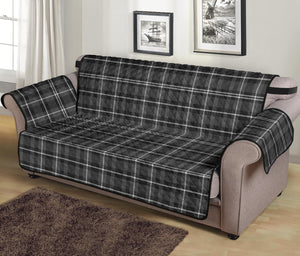 "Gray, Black and White Plaid Couch Protector Slipcover For 70"" Seat Width Sofas"