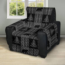 Load image into Gallery viewer, Gray and Black Plaid With Bears and Pine Trees Rustic Patchwork Pattern on Recliner