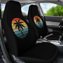 Load image into Gallery viewer, Black with Retro Sun and Palm Tree Car Seat Covers Set