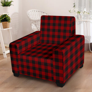 "Red and Black Buffalo Plaid Stretch Armchair Slipcover For Chairs Up To 43"" Wide"