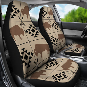 Bison Car Seat Covers Tan, Brown, Black With Ethnic Symbols and Arrows