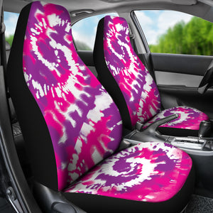 Pink Purple and White Tie Dye Abstract Car Seat Covers