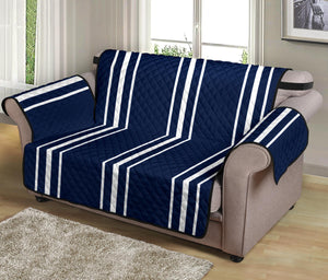 "Navy Blue With White Stripes Loveseat Sofa Protector Slipcover For Up To 54"" Seat Width Couches"