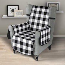 "Load image into Gallery viewer, Buffalo Check Armchair Slipcover Protectors In Black, White and Gray For 23"" Seat Width Chairs"
