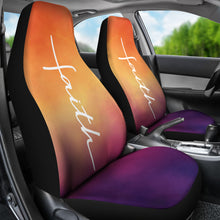 Load image into Gallery viewer, Faith Word Cross In White On Orange and Purple Ombre Car Seat Covers Religious Christian Themed
