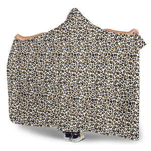White Leopard Hooded Blanket Animal Print With Sherpa Lining