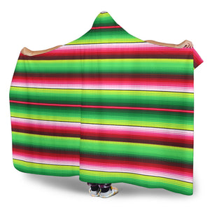 Green and Red Serape Style Hooded Blanket With Tan Sherpa Lining