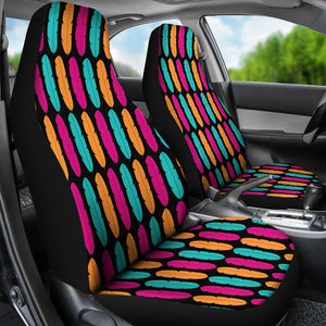 Colorful Boho Feathers on Black Background Car Seat Covers Pink, Teal and Orange