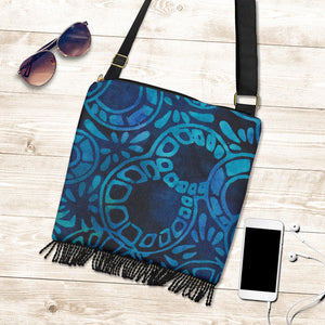 Blue Batik Canvas Boho Style Purse With Fringe Crossbody Bag Shoulder Strap