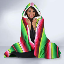 Load image into Gallery viewer, Bright Green and Red Serape Style Hooded Blanket