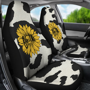 Cow Hide Design With Faith Sunflower Car Seat Covers