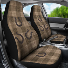Load image into Gallery viewer, Dark Burlap Style Buffalo Plaid Car Seat Covers With Rustic Horseshoes Western Cowboy Farmhouse