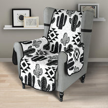 Load image into Gallery viewer, Black and White Cactus Boho Ethnic Pattern Armchair Slipcover Protector