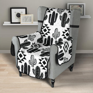 Black and White Cactus Boho Ethnic Pattern Armchair Slipcover Protector
