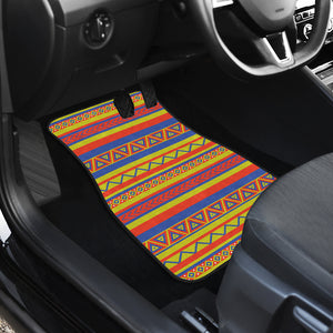 Set of 4 Floor Mats Colorful Ethnic Tribal Pattern Boho Mexican Inspired