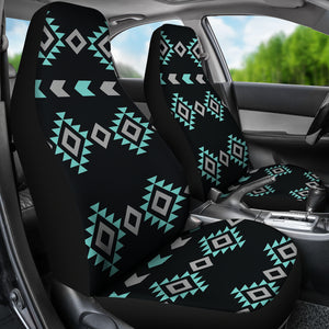 Turquoise, Gray and Black Ethnic Boho Tribal Pattern Car Seat Covers