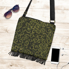 Load image into Gallery viewer, Olive Green Batik Swirls Design Canvas Printed Boho Bag With Fringe Crossbody Shoulder Purse