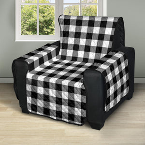 "Black and White Buffalo Plaid 28"" Recliner Chair Cover Protector Farmhouse Decor"