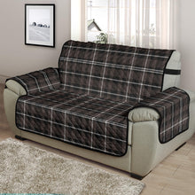 "Load image into Gallery viewer, Brown, Black and White Plaid Tartan 48"" Chair and a Half Couch Cover Sofa Protector"