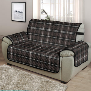 "Brown, Black and White Plaid Tartan 48"" Chair and a Half Couch Cover Sofa Protector"