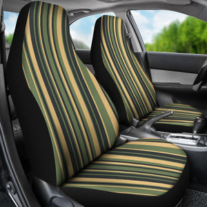 Tuscan Stripes Car Seat Covers Green and Black and Stone Earth Tones