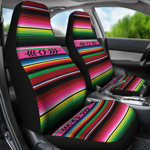 Bright Colored Pink, Green and Red Serape Style Car Seat Covers Set