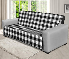 "Load image into Gallery viewer, Black White Buffalo Plaid 70"" Futon Sofa Couch Protector Farmhouse Decor"