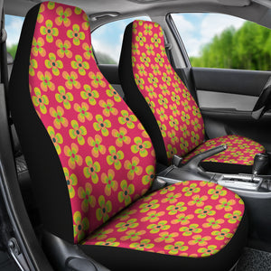 Pink Magenta With Retro Hippie Flower Pattern Car Seat Covers