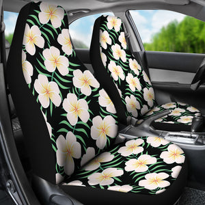 Black With Large Plumeria Frangipani Flower Pattern Hawaiian Island Floral Car Seat Covers