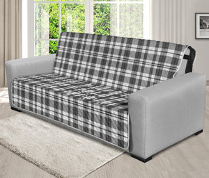 "Gray and White Plaid Futon Slipcover Protector Fits Up To 70"" Seat Width Couch"