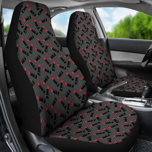 Charcoal Gray Black Polka Dots With Lipstick Tubes Car Seat Covers