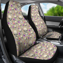 Load image into Gallery viewer, Tan With Skulls and Roses Car Seat Covers
