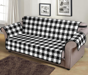 "Black White Buffalo Plaid 70"" Sofa Couch Protector"