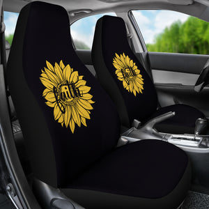 Faith Sunflower on Black Car Seat Covers Christian