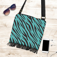 Load image into Gallery viewer, Turquoise Zebra Boho Handbag Crossbody Purse Canvas With Fringe and Shoulder Strap