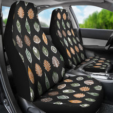 Load image into Gallery viewer, Ethnic Leaves Patter on Black Car Seat Covers Set of 2