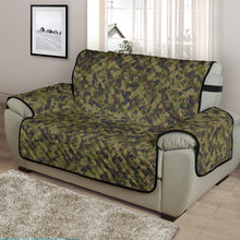 "Load image into Gallery viewer, Camo Chair and a Half Protector Cover in Green, Brown and Gray, Camouflage 48"" Seat Width"