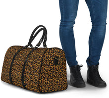 Load image into Gallery viewer, Leopard Print Travel Bag Duffel With Black Faux Leather Handles