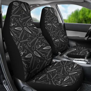 Kitchen Tools Cooking Car Seat Covers Chalky Black and White
