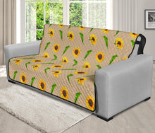 "Load image into Gallery viewer, Tan With Rustic Sunflower Pattern 70"" Futon Sofa Protector Farmhouse Home Decor"