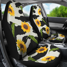 Load image into Gallery viewer, Black and White Cow Print With Rustic Sunflowers Car Seat Covers Seat Protectors