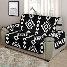 "Load image into Gallery viewer, Black and White Ethnic Tribal Pattern on 48"" Chair and a Half Sized Sofa Protector Couch Slipcover"