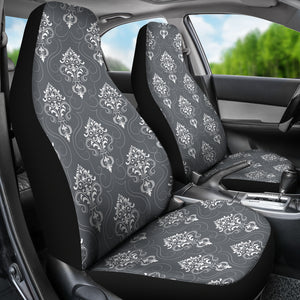 Gray and White Damask Pattern Car Seat Covers Set