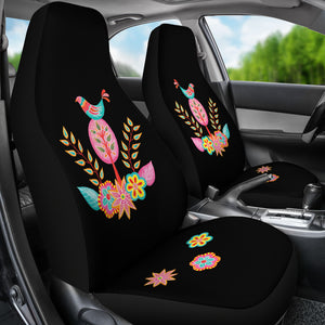 Colorful Folk Art Car Seat Covers Black Background