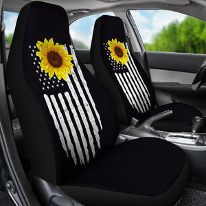 Distressed American Flag With Rustic Sunflower on Black Car Seat Covers