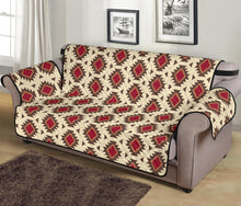 "Load image into Gallery viewer, Creamy Beige and Red Navajo Style Native Tribal Pattern 70"" Sofa Cover Couch Protector"