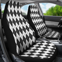 Load image into Gallery viewer, White Charcoal and Slate Colored Argyle Car Seat Covers Preppy Pattern